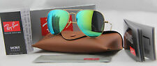 NEW Ray Ban Aviator RB3025 112/19 55mm 58mm Green Mirror Lenses Matte Gold Frame