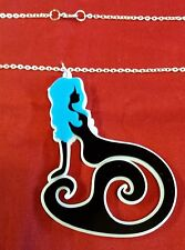 BLUE HAIR SEXY MERMAID BEAUTY NECKLACE PENDANT SIL CHN PUNK EMO