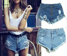 Sexy Women High Waisted Denim Jeans curling hole Mini Shorts Hot Pants 2 colours