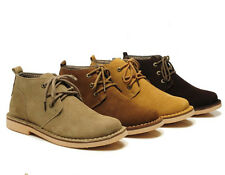 Men boys Ankle Chukka Suede Leather Lace Comfort desert Work Boots Casual Shoes