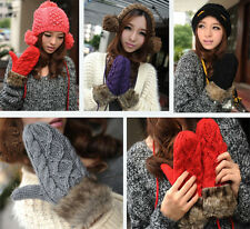 Fashion Lovely Women Ladies Girls Warm Knitted Fleece Lined Gloves Mittens