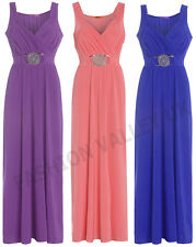 NEW FORMAL LONG EVENING BALL GOWN PARTY PROM BRIDESMAID BUCKLE MAXI DRESS 8-26