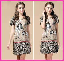New Girls/Lady Love Moschino Leopard Printed Fashion Casual Summer Dress 3 Size