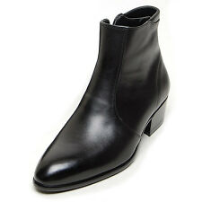 """Men's Black Leather comfy cushioned collar side zip 1.77"""" high heel ankle boots"""