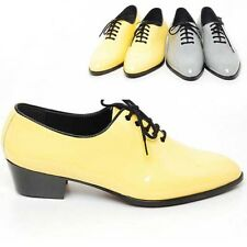 Mens glossy synthetic leather  Lace Up Oxford yellow gray dress shoes 5.5-10.5