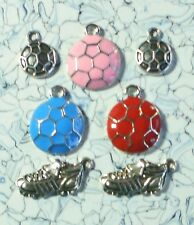 Enamel 18kgp Soccer Ball Charm Sets (Safe - Tibetan Silver Alloy) - USA Seller!!