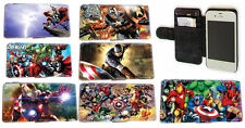 Custom Comic Superhero leather card wallet phone case for Samsung S3,S4,Mini,S5