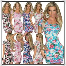 Mini Dress Flowers Womens Sexy Ladies Summer Floral Short ONE SIZE 8,10,12 UK