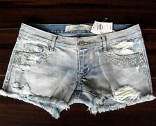 NWT 2014 ABERCROMBIE & FITCH Premium Bling Hardware Distress Denim Shorts 0 2 US