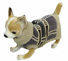 Dog Sweater Check Brown Grey XS-2XL Jumper Knitted Chihuahua Staffy Coat Jacket