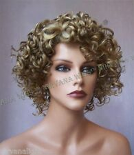 Short Curls Zig Zag Side Part Oprah Style Wig  Brown with Blonde or Light Blonde