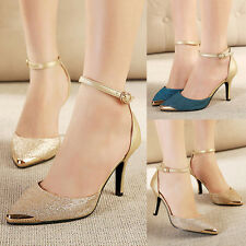Womens Glitter Ankle Strap Kitten Heels Pointy Toe Fashion Sexy Lady Pumps Shoes