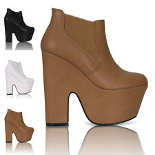 WOMENS LADIES CHUNKY HEEL PLATFORM DEMI WEDGE CHELSEA ANKLE BOOTS SHOES SIZE