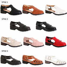 WOMENS LADIES CASUAL GEEK CUT OUT FRILL CLEATED SOLE HEEL FLAT SHOES SIZE