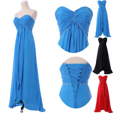 Strapless Chiffon Lace Up Back Formal Evening Bridesmaid Party Long Prom Dresses