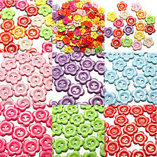 200pcs 15mm Plastic Resin Buttons Mixed Color Flower Sewing Button 2 hole Round