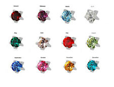 Birthstone Options Mini Surgical Stainless Steel Prong RD2.0mm Stud Earrings
