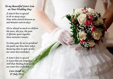Personalised to my sister on her wedding day poem ideal to frame a4 or