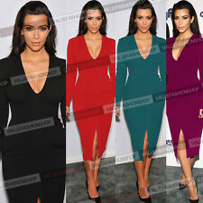 Hot Women Celeb Sexy Slim Fit Plunge Cotton Clubwear Bodycon Evening Dress 827