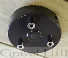 GLOSS BLACK Ceiling Rose Multi Outlet with CORD GRIP 1 2 3 4 5 6 7 Way Outlet