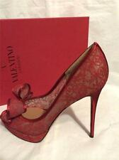 Valentino Couture Red Satin Lace Open Toe Bow Platform Pumps Heels Shoes $1095