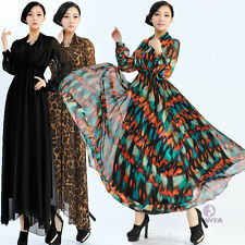 Hot Women Chiffon Beach Summer Ball Gown Black Leopard Colorful Maxi Long Dress
