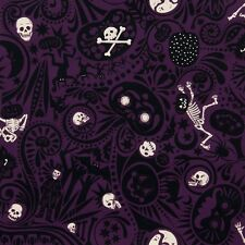 Alexander Henry Midnight Muertos Mexican Skeleton Skull fabric FQ rockabilly DIY