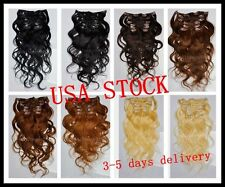 USA STOCK!20inch remy human hair Wavy clip In Extensions 70g ,3-5 days delivery!