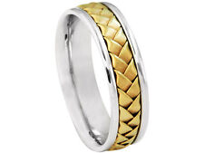 2TONE PLATINUM 18K YELLOW GOLD  WOVEN 6mm COMFORT FIT WEDDING BAND
