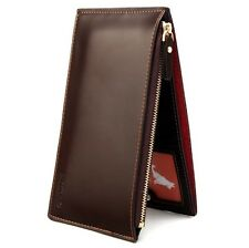 Mens Long Faux Leather ID Credit Card Iphone Holder Clutch Bifold Purse Wallet