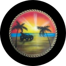 Rope Jeep on the Beach Black Spare Tire Cover
