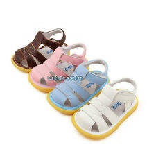 Retro Girls Boys Infants Baby Flat 80s Summer Walking Sandals Leather Shoes New