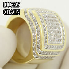 MEN`S 14K GOLD FINISH ICED OUT LAB DIAMOND HIPHOP RING/23g/G42