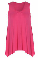 Womens Plus Size Cerise Pink Sleeveless Ruched Neckline Plain Long Vest T Shirt