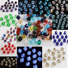 Wholesale 50pcs 8mm Multicolors Crystal Glass Bicone Faceted Spacer Loose Beads