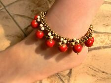 Handmade vintage hmong Thai Indian anklet turquoise copper ring copper bead 008A