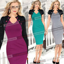 Women Pinup Colorblock Lace Tunic Work Cocktail Party Bodycon Pencil Dress 669