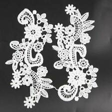 1 Pair Embroidered Polyester Flower Motif Lace Trim Fabric Sewing Craft