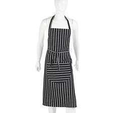 Navy Butchers Striped Full Bib Apron Unisex Cotton Pinny Bistro Bar Cafe Baking