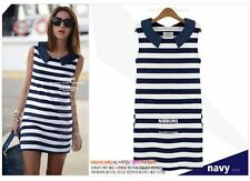 Fashion Sexy Women Sleeveless Blue and White Striped Comfort Summer Mini Dress