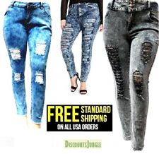WOMENS PLUS SIZE Distressed Ripped Acid Wash BLUE DENIM HIGH WAIST SKINNY JEANS