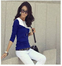 Fashion Women Casual Soft Long Sleeve T-Shirt Round Collar Tops Blouse Tee