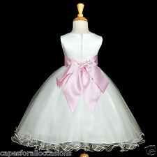 WHITE PINK FORMAL GOWN TULLE WEDDING BALL FLOWER GIRL DRESS 12-18M 2 4 5T 6 8 10