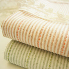 1/2 M Japanese Embroidered Dyed Yarn Woven Ticking Stripes 100% Cotton Fabric