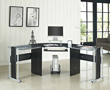Corner Computer Desk PC Table L Shape Black White with Glass Home Office New
