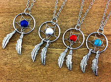 antique silver Dream catcher necklace, women jewelry, women girl necklace gift