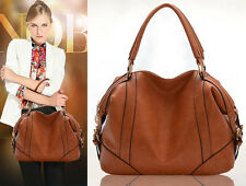 Fashion women genuine leather handbag shoulder bag large tote Brown cowboy