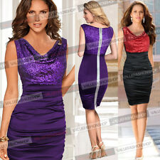 Womens Sequin Ruched Draped Club Cocktail Party Evening Prom Bodycon Dress 837