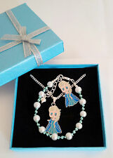 child frozen bracelet and necklace set, elsa, anna, olaf, with gift box or bag