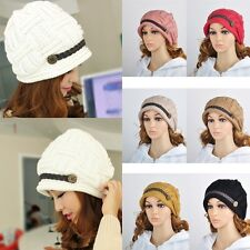 Women Braided Warm Rageared Baggy Winter Beanie Knit Crochet Ski Hat Cap